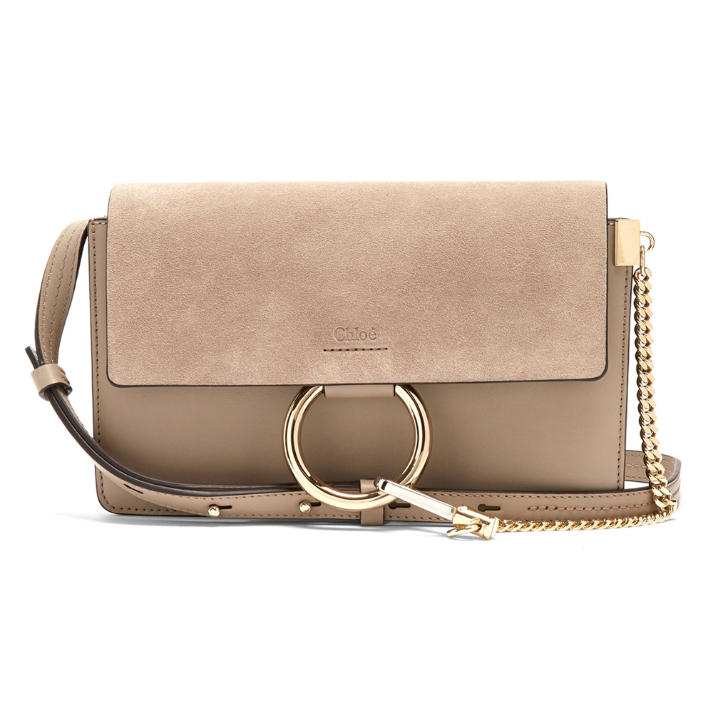 07d9c977e8 Faye Small Suede and Leather Shoulder Bag – Taupe Grey | The One and ...
