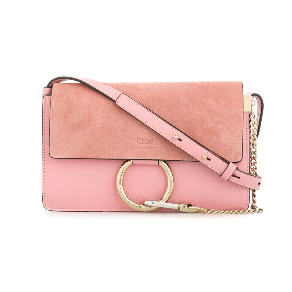 f3eccb3f8b77 Faye Small Suede and Leather Shoulder Bag – Pink